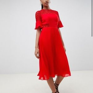 Red Ruffle Pleated Midi Dress